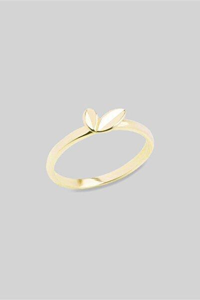 So CHIC... 18 Ayar Sarı Altın Kaplama Yaprak Figürlü Gümüş Yüzük