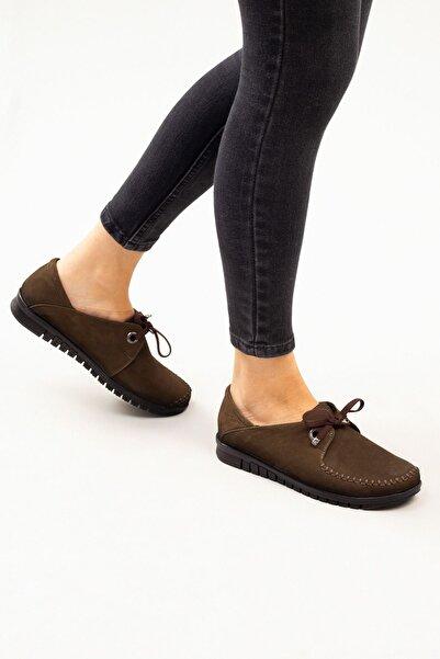 DERİMİSS Haki Nubuk Hakiki Deri Bağcıklı Kadın Günlük Ayakkabı • A212kıvk0012