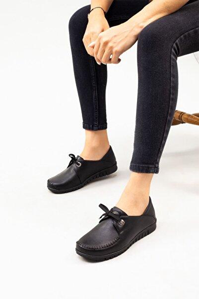 DERİMİSS Kadın Siyah Hakiki Deri Ortopedik Ayakkabı • A212kıvk0012