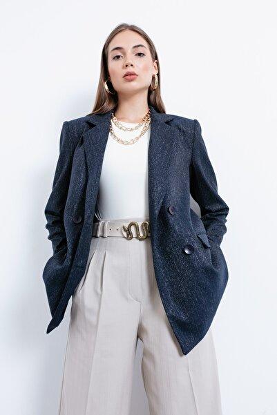 Lafaba Kadın Lacivert Süs Düğmeli Ceket