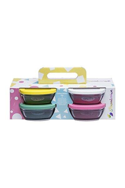 Paşabahçe Saklama Pudding Kabı Renkli Plastik Kapak 4'lü