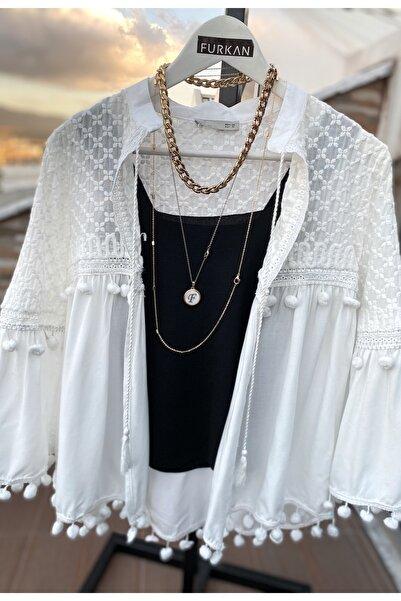 FURKAN EXCLUSIVE Kadın Beyaz Ponpon Detaylı Nakışlı Ince Ceket