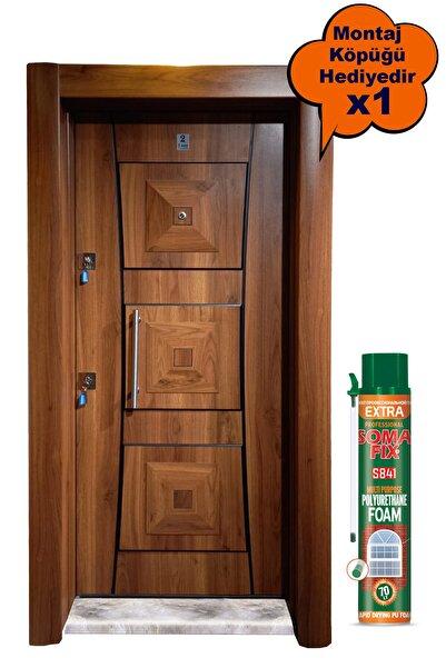 Tezdoor Çelik Kapı, Ahşap Kaplama Kabartmalı Model Daire Kapısı, Tırnaklı Sistem Çelik Kapı