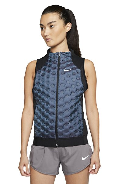 Nike Kadın Yelek Siyah-mavi - Women's Aeroloft Gilet Running Vest Bv3851-464
