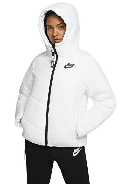 Nike Sportswear Windrunner Bol Kesim Kapüşonlu Hafif Dolgulu Kadın Beyaz Ceket Mont