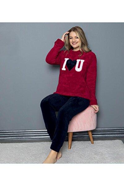 Sude 7107 Bordo Bayan Peluş Polar Pijama Takımı