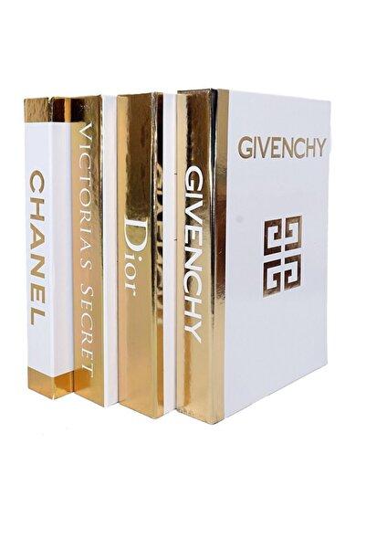notiyatro Chanel Dior Givenchy Ve Victoria's Secret Beyaz Gold Yaldızlı 4'lü Dekoratif Kitap Kutusu Set