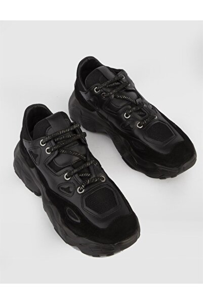İLVİ Miranda Bayan Spor Ayakkabı Siyah Deri Siyah Süet