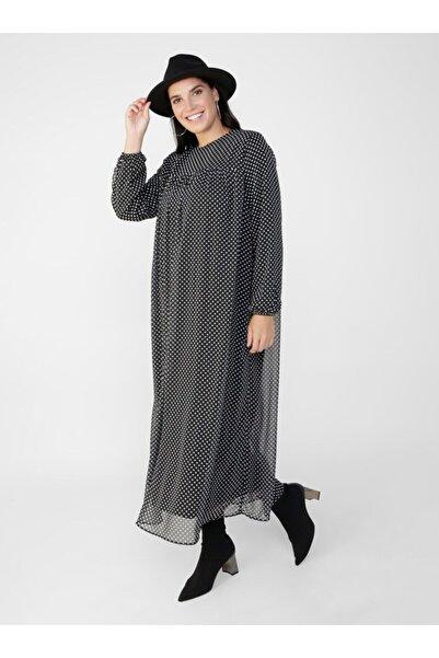 ALİA Büyük Beden Puantiye Desenli Şifon Elbise - Siyah Beyaz -