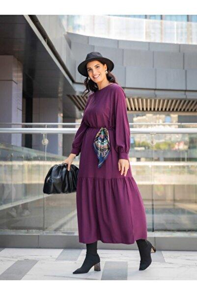 ALİA Büyük Beden Viskon Karışımlı Elbise - Mürdüm