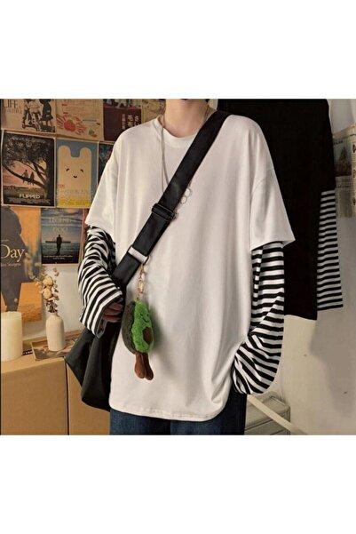 Köstebek Oversize Düz Beyaz Kollar Çizgili T-shirt