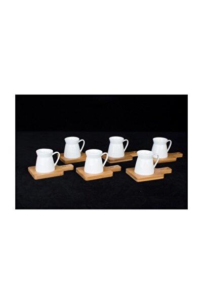 ACAR Beyaz Bambu Sunumlu 6 Kişilik Porselen Fincan Takımı