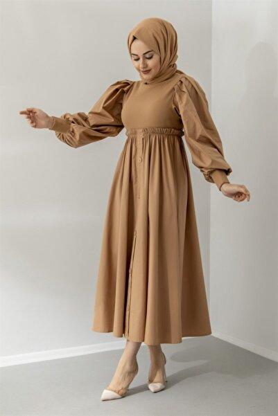 Modarana Düğme Detaylı Triko Kışlık Tesettür Elbise