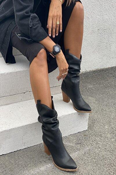 İnan Ayakkabı Kadın 8cm Topuk Detaylı Kısa Çizme