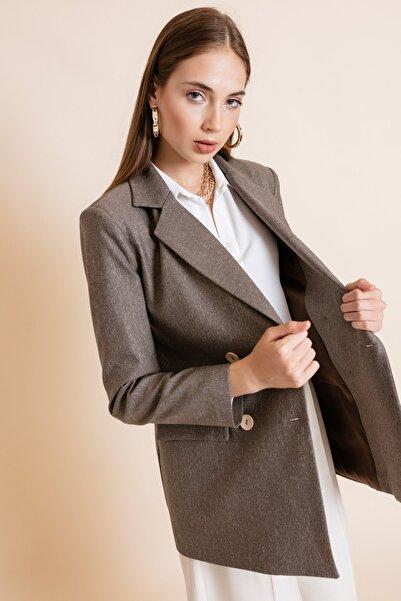 Lafaba Kadın Bej Süs Düğmeli Ceket