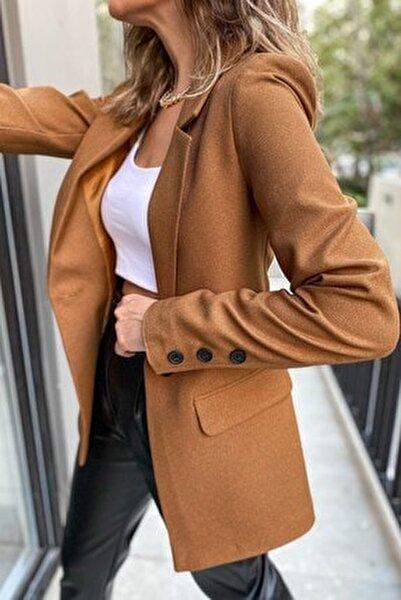 Blazer Tek Düğmeli Yün Efektli Ceket