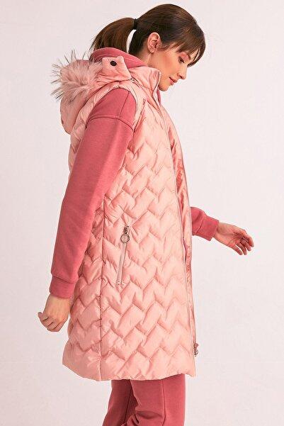 Fulla Moda Kadın Pudra Şişme Uzun Yelek