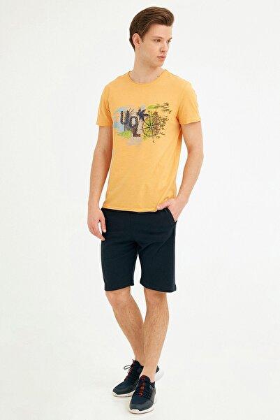 Fulla Moda Erkek Lacivert Beli Lastikli Şort