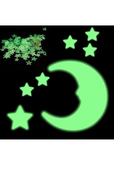 UAT Products 100 Adet Gece Karanlıkta Parlayan Fosforlu Yıldız Duvar Sticker Çıkartma