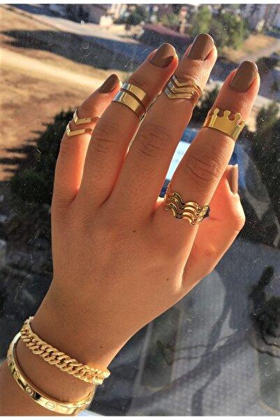 DGN Shoping Kadın 5 Li Gold Vintage Eklem Yüzük Seti Ayarlanabilir