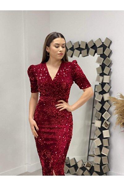 giyimmasalı Kadife Payet Ceket Elbise - Kırmızı