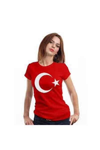 Bisürü Türk Bayraklı Bayan Tişört Türk Bayrağı Tişört 23 Nisan 19 Mayıs 29 Ekim 10 Kasım Tişört