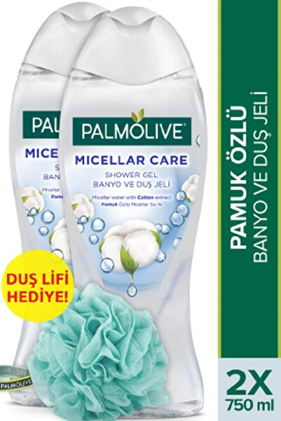 Palmolive Micellar Care Pamuk Özlü Micellar Su Ile Banyo Ve Duş Jeli 2 X 750 ml + Duş Lifi Hediye