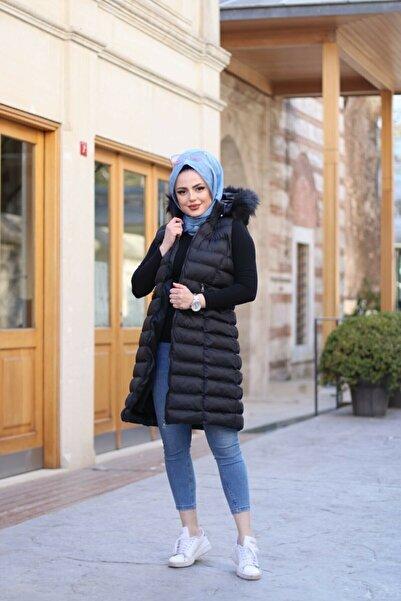 Altay Kadın Siyah Uzun Kürklü Kapşon Şişme Yelek - 95cm