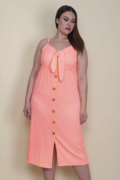 Şans Kadın Fosfor Krinkıl Kumaş Süs Düğmeli Ön Fiyonklu Askılı Elbise 65N28198