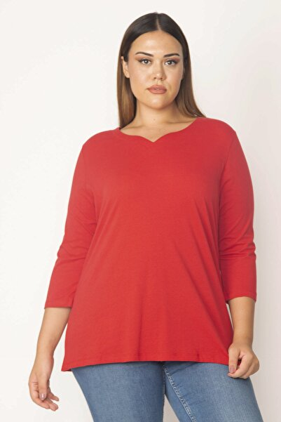 Şans Kadın Kırmızı Pamuklu Kumaş Yaka Detaylı Bluz 65N28440