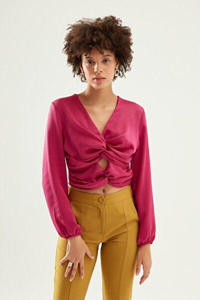 Quzu Kadın Orkide Dekolte Detaylı V Yaka Bluz