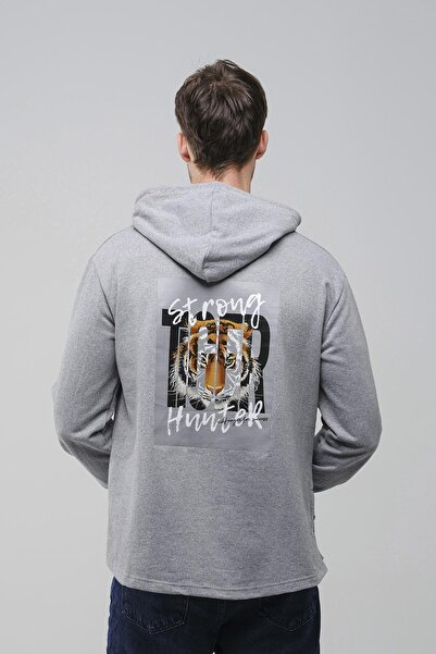 Oksit Man Strong Hunter Fermuar Detaylı Slim Fit Kapüşonlu Sweatshirt