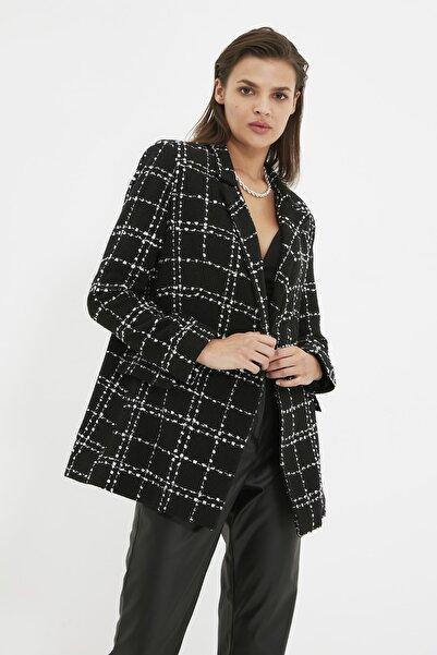 TRENDYOLMİLLA Siyah Tüvit Oversize Blazer Ceket TWOAW21CE0105