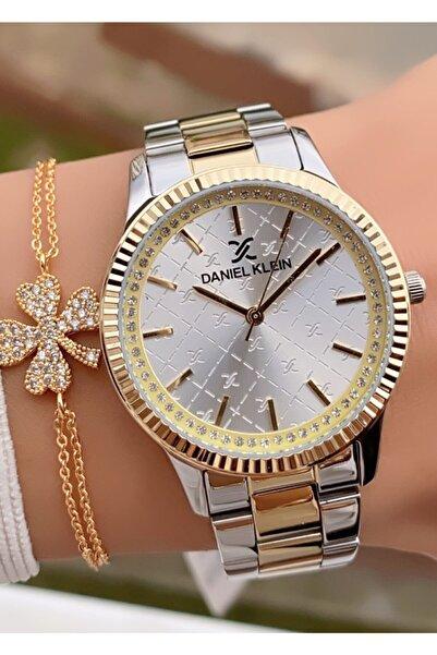 Daniel Klein Sarı Gümüş Çelik Kordon Taşlı Kadın Kol Saati Bileklik Hediyeli