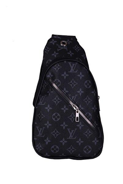 DESS Unisex Siyah Camel Louis Vuitton Desenli Suni Deri Çanta Cnt0014