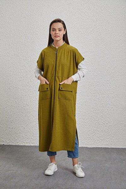 Sitare Kadın Yeşil Keçe Yelek