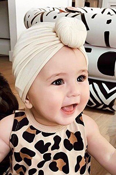 MyWearCollection Düğüm Bebek Bonesi Ekru Bebek Takım Aksesuarı