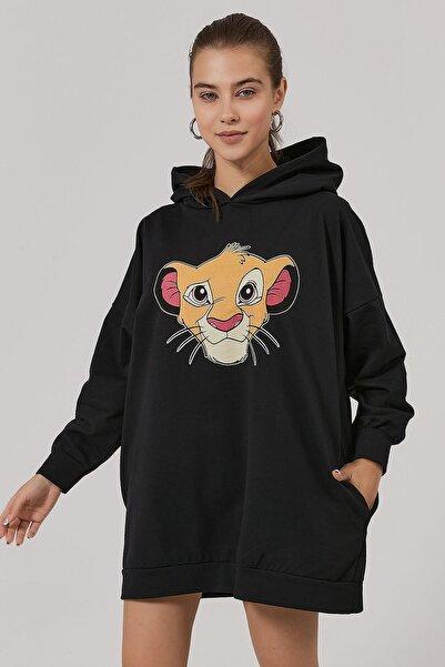 Y-London Kadın Siyah Hayvan Figürlü Oversize Sweatshirt Y20W185-1280-2