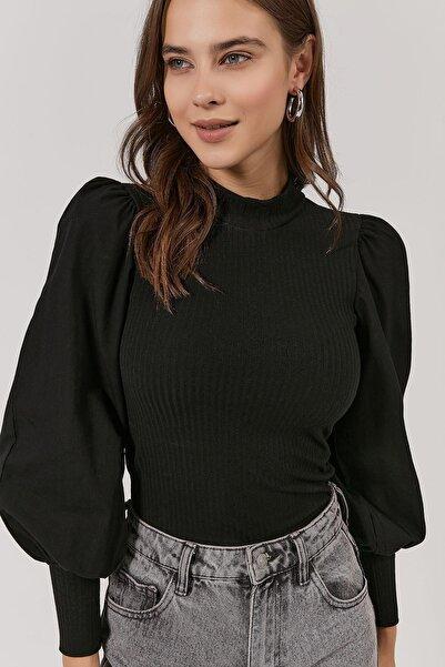 Y-London Kadın Siyah Kolları Poplin Kumaş Detaylı Fitilli Bluz Y20W189-7005