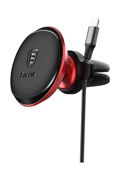 Baseus Magnetic Air Vent Serisi Mıknatıslı Kablo Askılı Telefon Tutucu Kırmızı