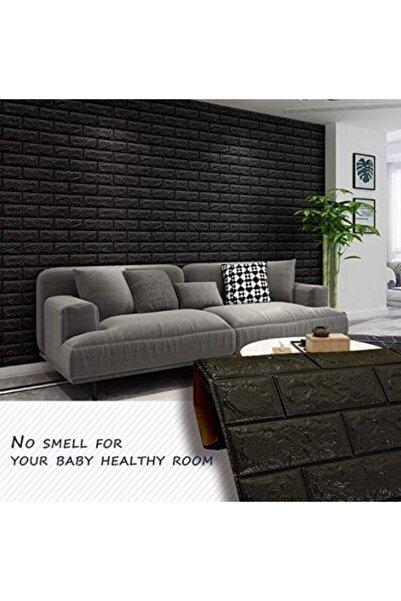 Renkli Duvarlar Nw06 Siyah Tuğla Arkası Yapışkanlı Esnek Silinebilir Duvar Paneli 3d Duvar Kağıdı