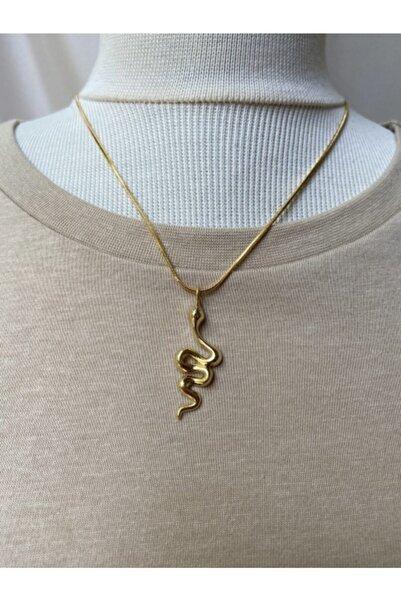 ms merijewelry Kadın Altın Kaplama Yılan Kolye