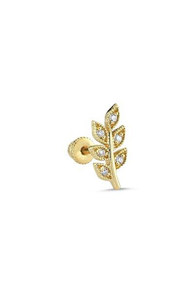 Aypa Mücevher Pırlanta Taşlı Yapraklı Tragus Piercing