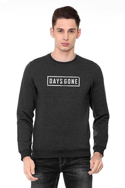 QIVI Days Gone Logo Baskılı Füme Antrasit Erkek Örme Sweatshirt Uzun Kol