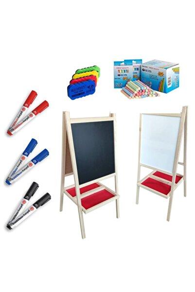 HAMAHA 7 Parça Çift Taraflı Yazı Tahtası Seti - Renkli Tebeşir + Silgi + Kalemler