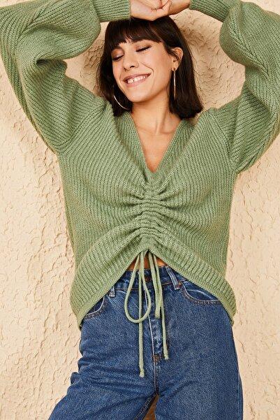 Bianco Lucci Kadın Mint Yeşili Önü Büzgülü İpi Ayarlanabilir Triko Örme Kazak 20011024