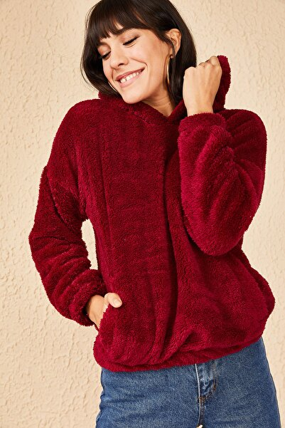 Bianco Lucci Kadın Bordo Kapüşonlu Flato Cepli Yumuşacık Peluş Sweatshirt 10171017