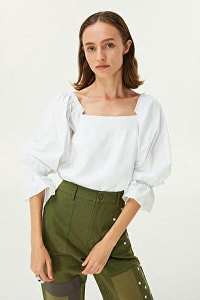 Kadın Beyaz Balon Kol Bluz TW6200050070