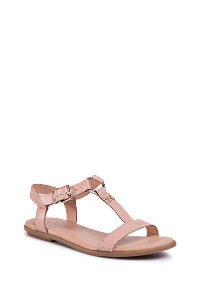 Tommy Hilfiger Kadın Bej Feminine Leather Flat Sandalet Fw0fw04882