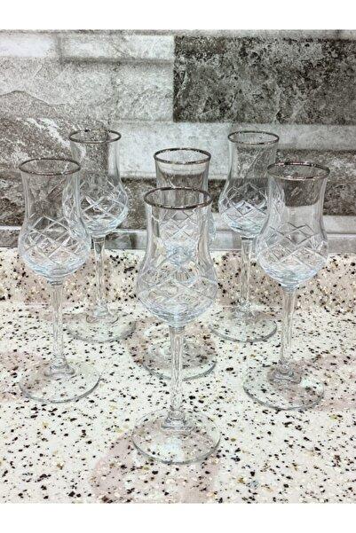 Paşabahçe Grappa Kesme Gümüş Yaldızlı Kahve Yanı Su Bardağı 6 Kişilik